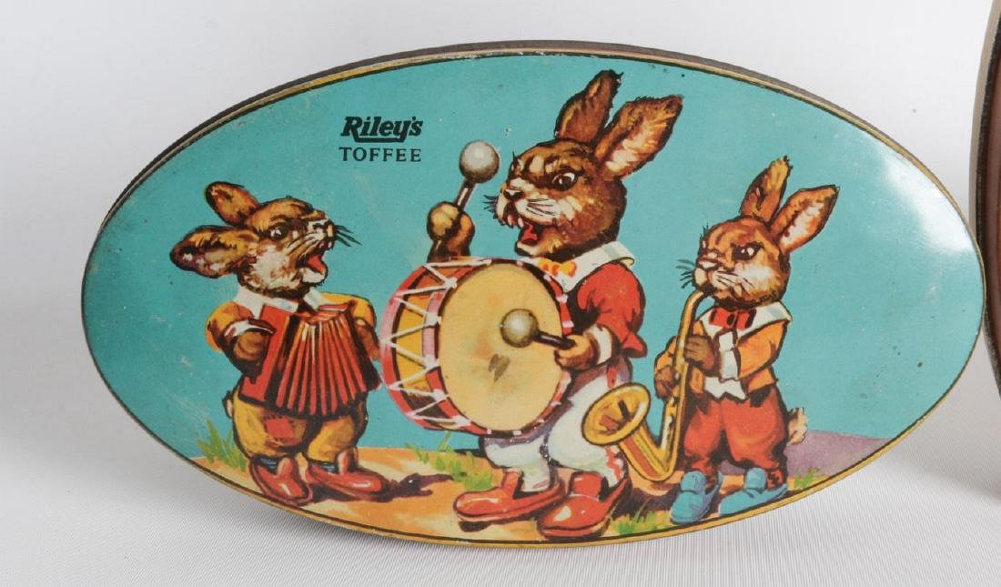 FOUR VINTAGE 'RILEY'S TOFFEE TIN LITHO TOFFEE TINS - 2