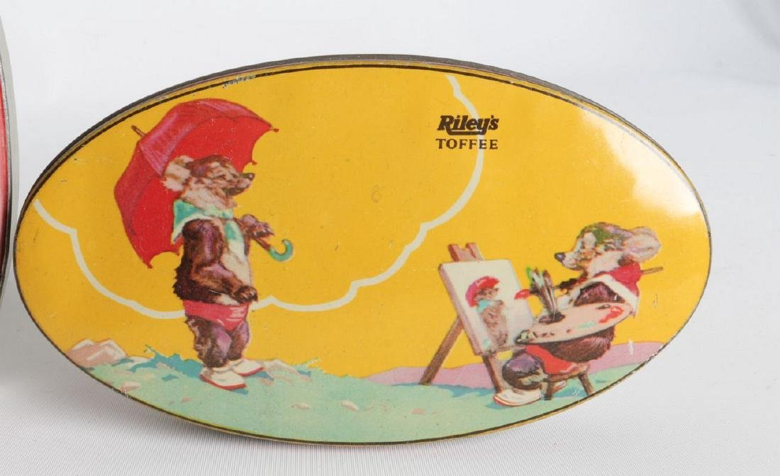 FOUR VINTAGE 'RILEY'S TOFFEE TIN LITHO TOFFEE TINS - 4
