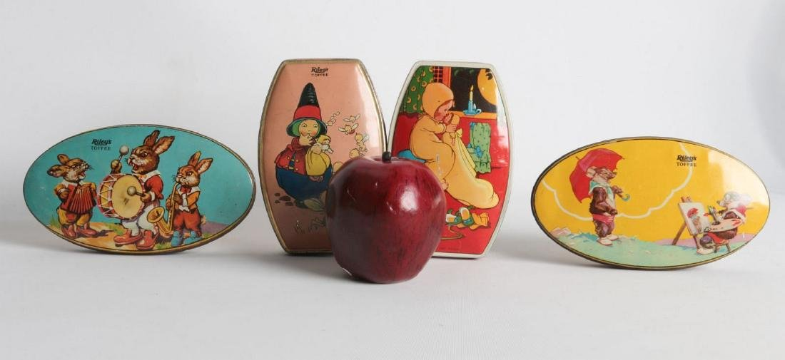 FOUR VINTAGE 'RILEY'S TOFFEE TIN LITHO TOFFEE TINS - 5