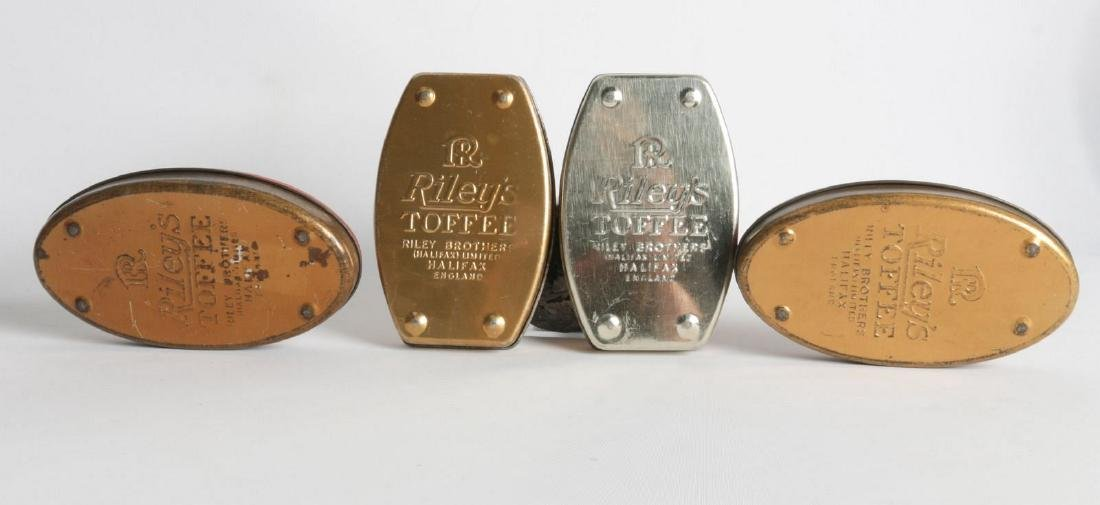 FOUR VINTAGE 'RILEY'S TOFFEE TIN LITHO TOFFEE TINS - 6