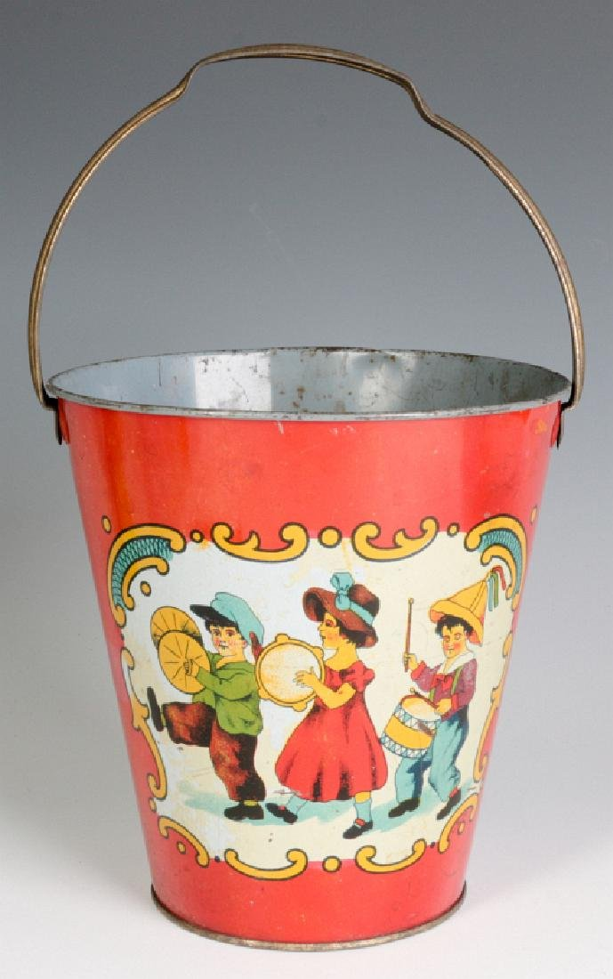 A TIN LITHO CHILD'S PAIL WITH MARCHING KIDS C 1920