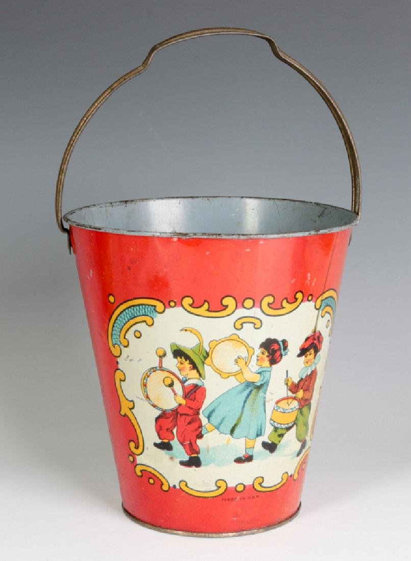 A TIN LITHO CHILD'S PAIL WITH MARCHING KIDS C 1920 - 3