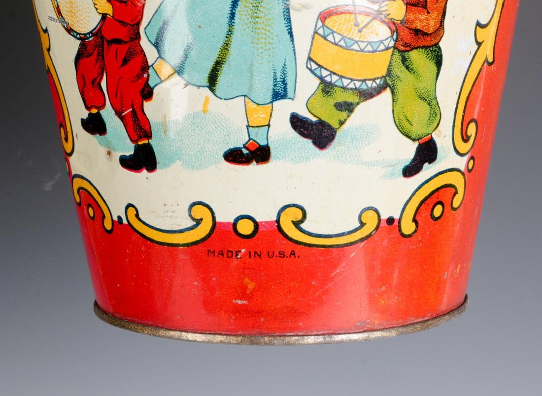A TIN LITHO CHILD'S PAIL WITH MARCHING KIDS C 1920 - 4