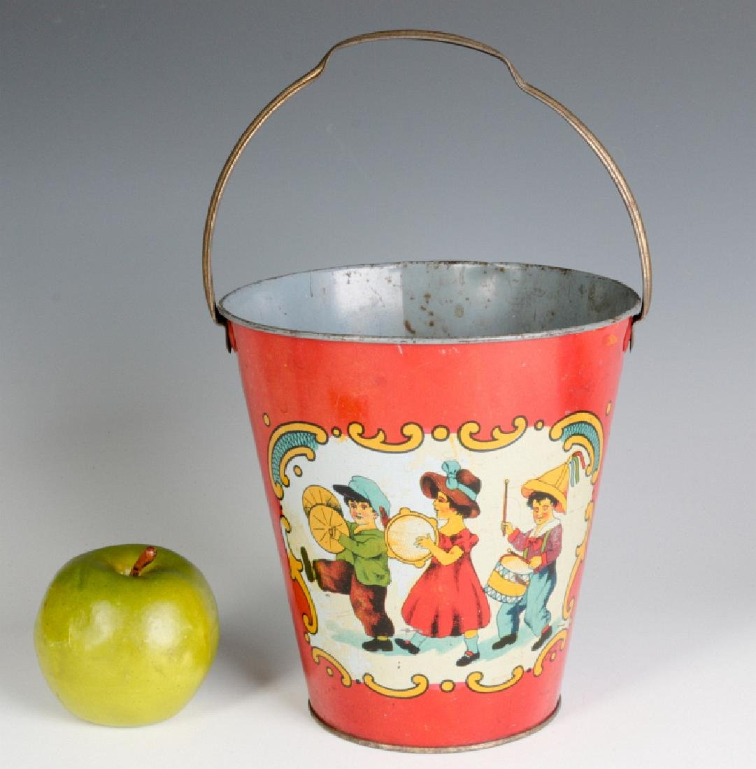 A TIN LITHO CHILD'S PAIL WITH MARCHING KIDS C 1920 - 6