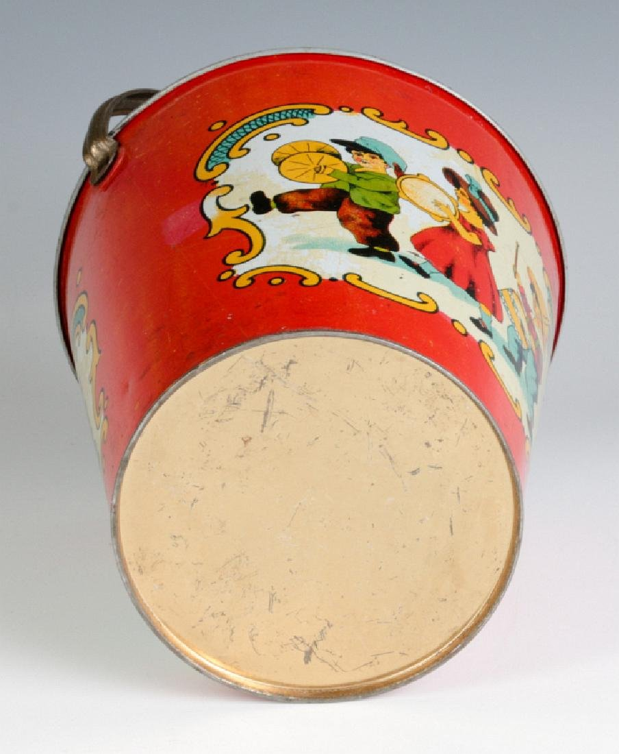 A TIN LITHO CHILD'S PAIL WITH MARCHING KIDS C 1920 - 9