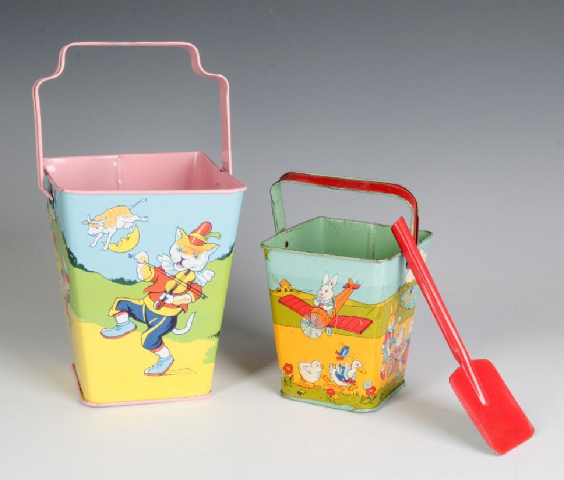 TWO GOOD SQUARE SAND PAILS AND SHOVEL SIGNED CHEIN