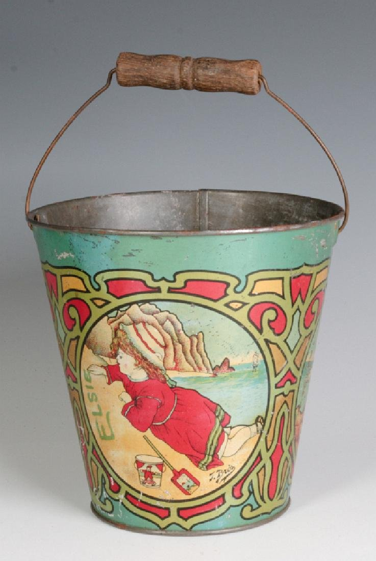 A VICTORIAN TIN LITHO SAND PAIL SIGNED T. BRO'S