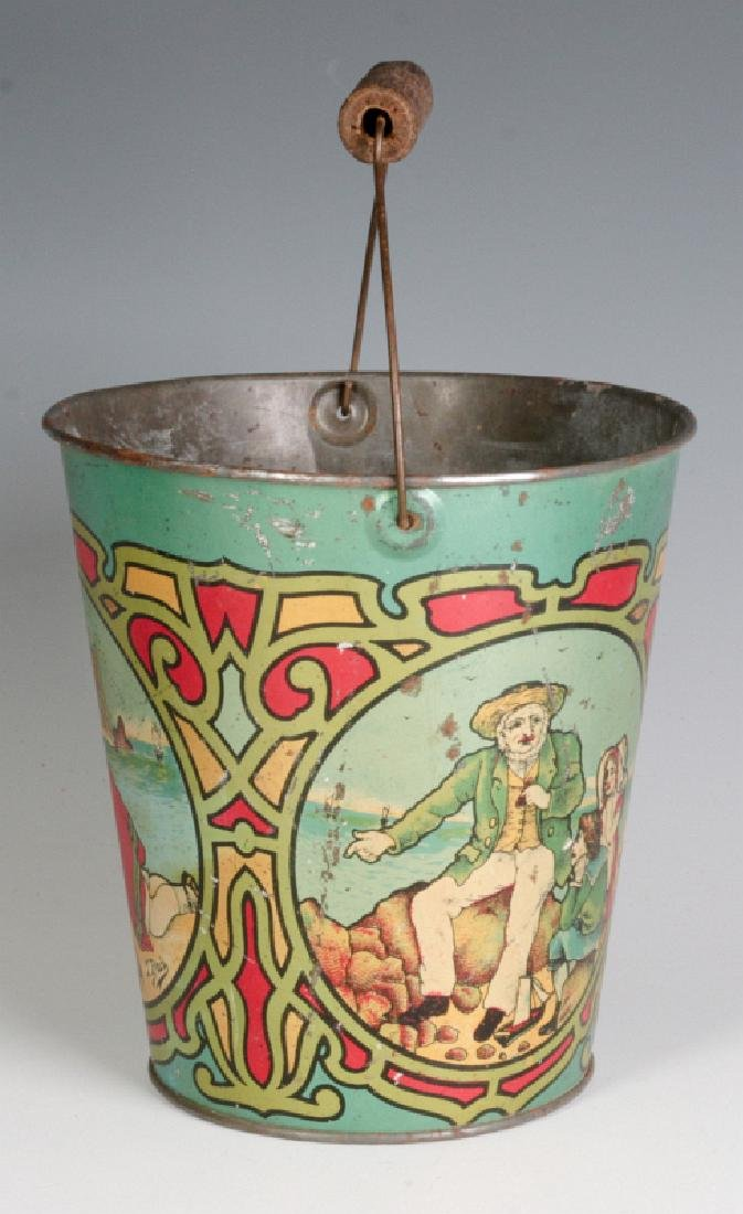 A VICTORIAN TIN LITHO SAND PAIL SIGNED T. BRO'S - 2