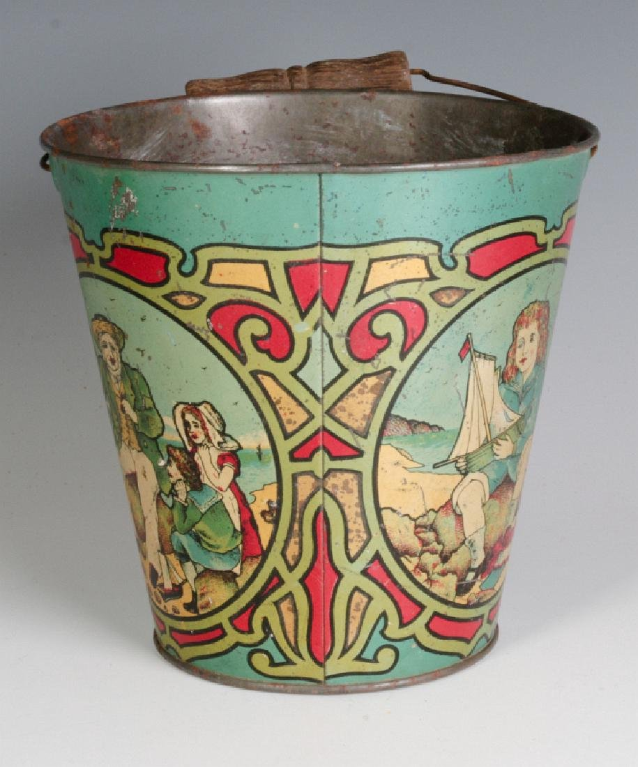 A VICTORIAN TIN LITHO SAND PAIL SIGNED T. BRO'S - 3