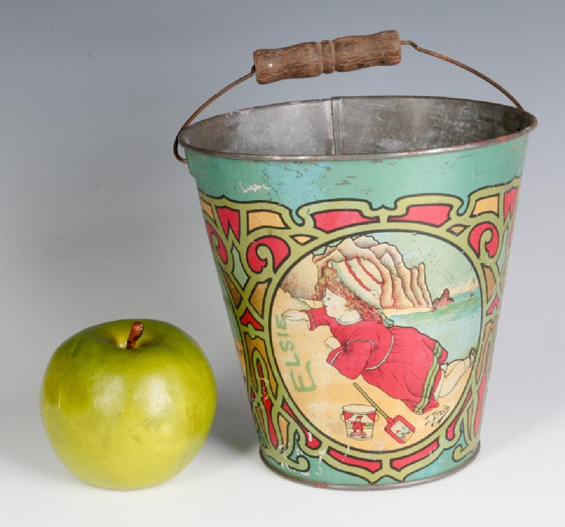 A VICTORIAN TIN LITHO SAND PAIL SIGNED T. BRO'S - 6