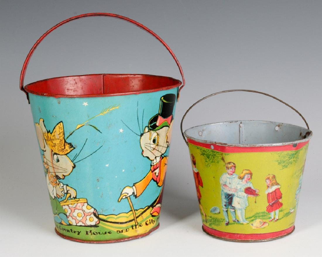 TWO TIN LITHO CHILD'S PAILS