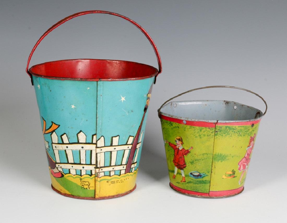 TWO TIN LITHO CHILD'S PAILS - 3