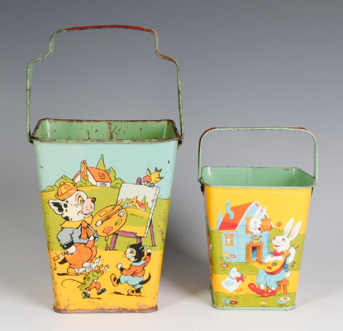 TWO SQUARE TIN LITHO SAND PAILS SIGNED CHEIN