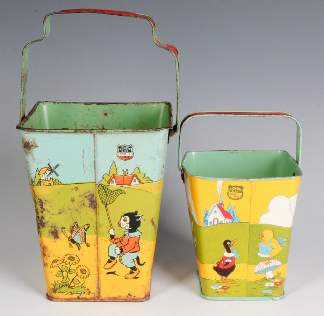 TWO SQUARE TIN LITHO SAND PAILS SIGNED CHEIN - 3