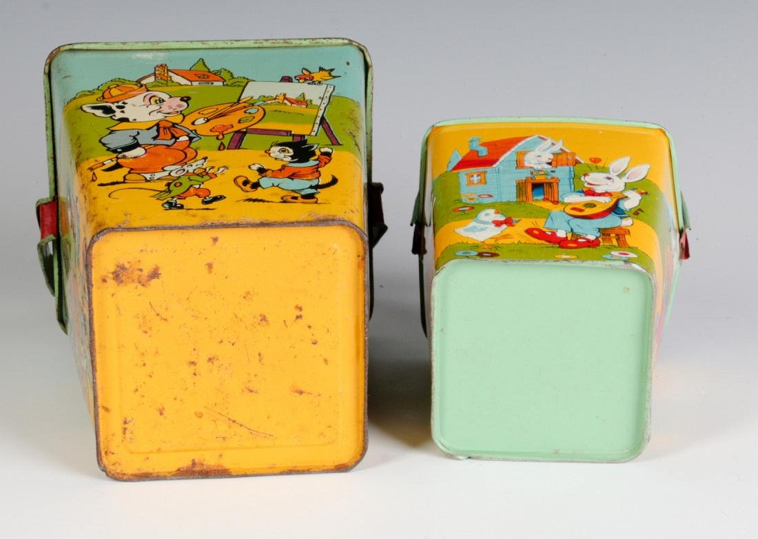 TWO SQUARE TIN LITHO SAND PAILS SIGNED CHEIN - 6