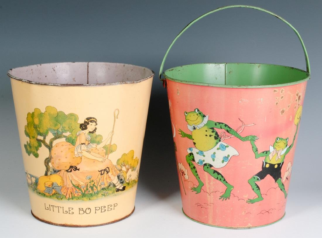 TWO OHIO ART VINTAGE TIN LITHO CHILD'S SAND PAILS