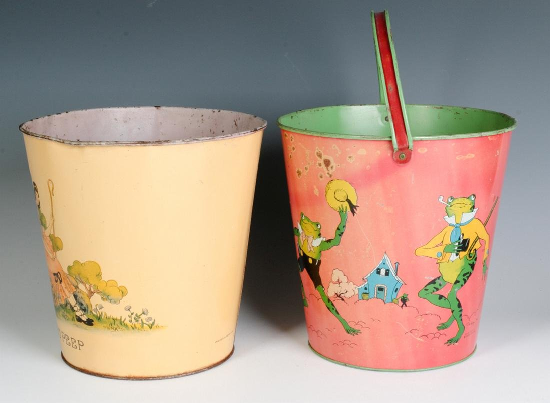 TWO OHIO ART VINTAGE TIN LITHO CHILD'S SAND PAILS - 2