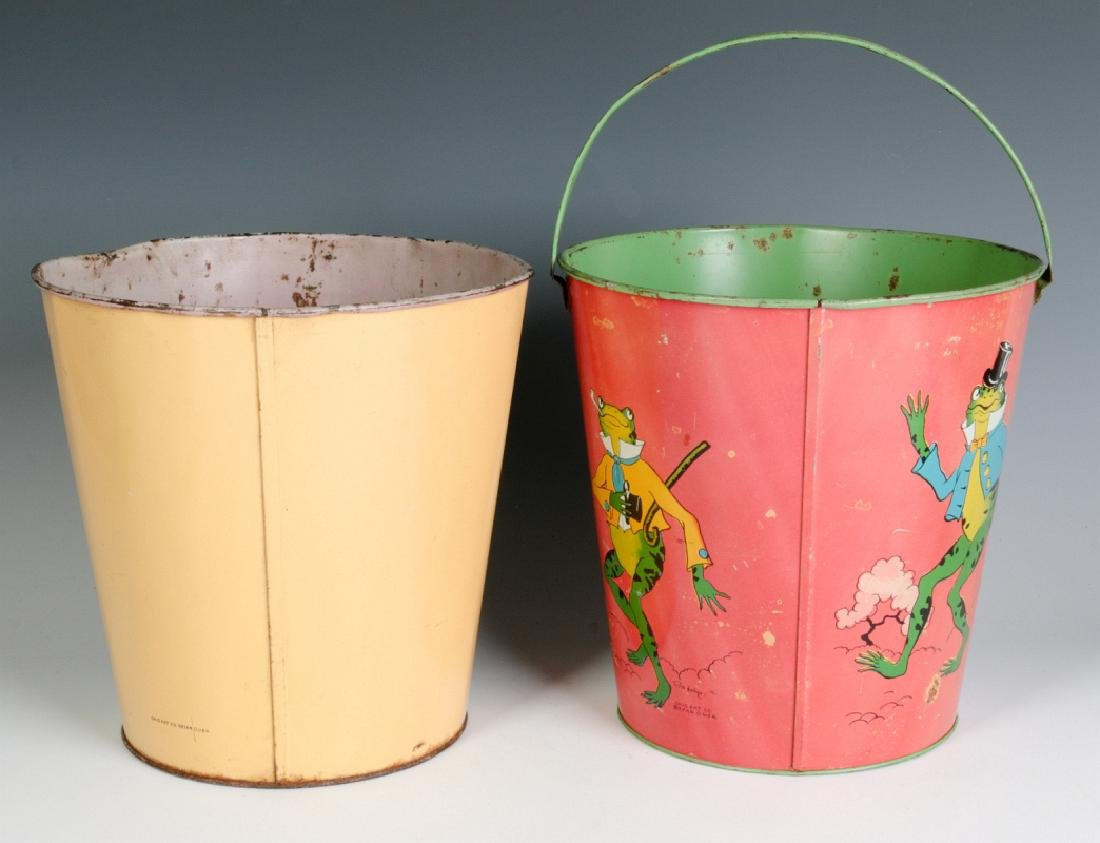 TWO OHIO ART VINTAGE TIN LITHO CHILD'S SAND PAILS - 3