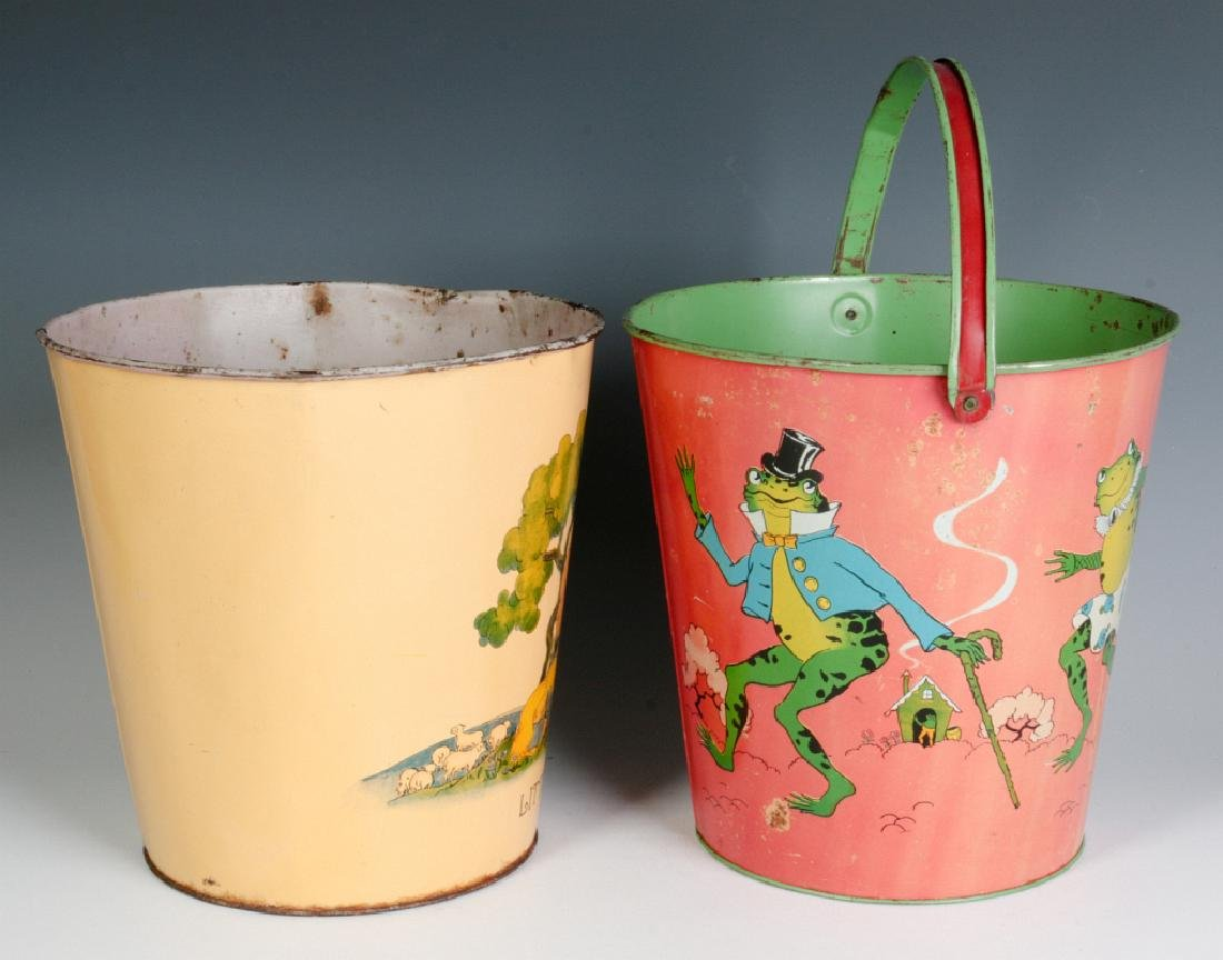TWO OHIO ART VINTAGE TIN LITHO CHILD'S SAND PAILS - 4