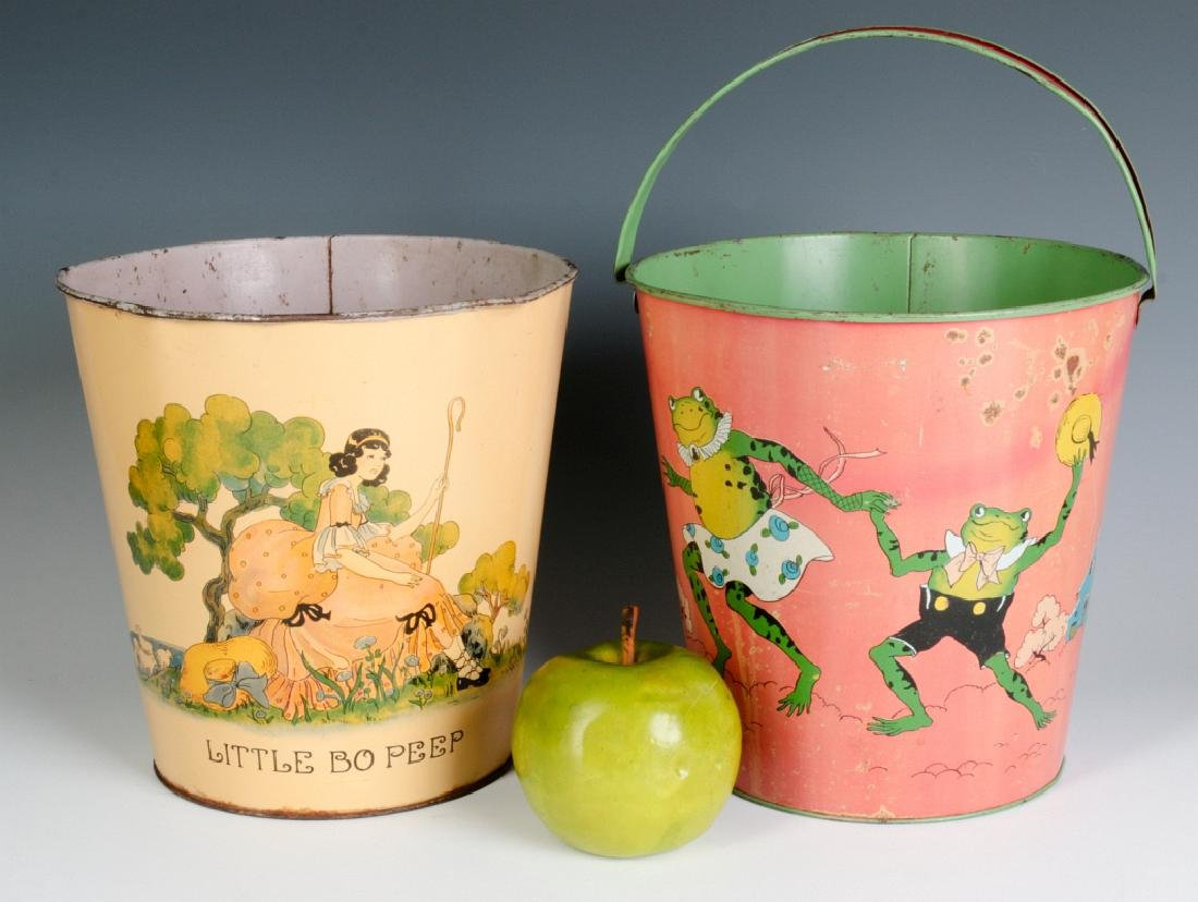 TWO OHIO ART VINTAGE TIN LITHO CHILD'S SAND PAILS - 5