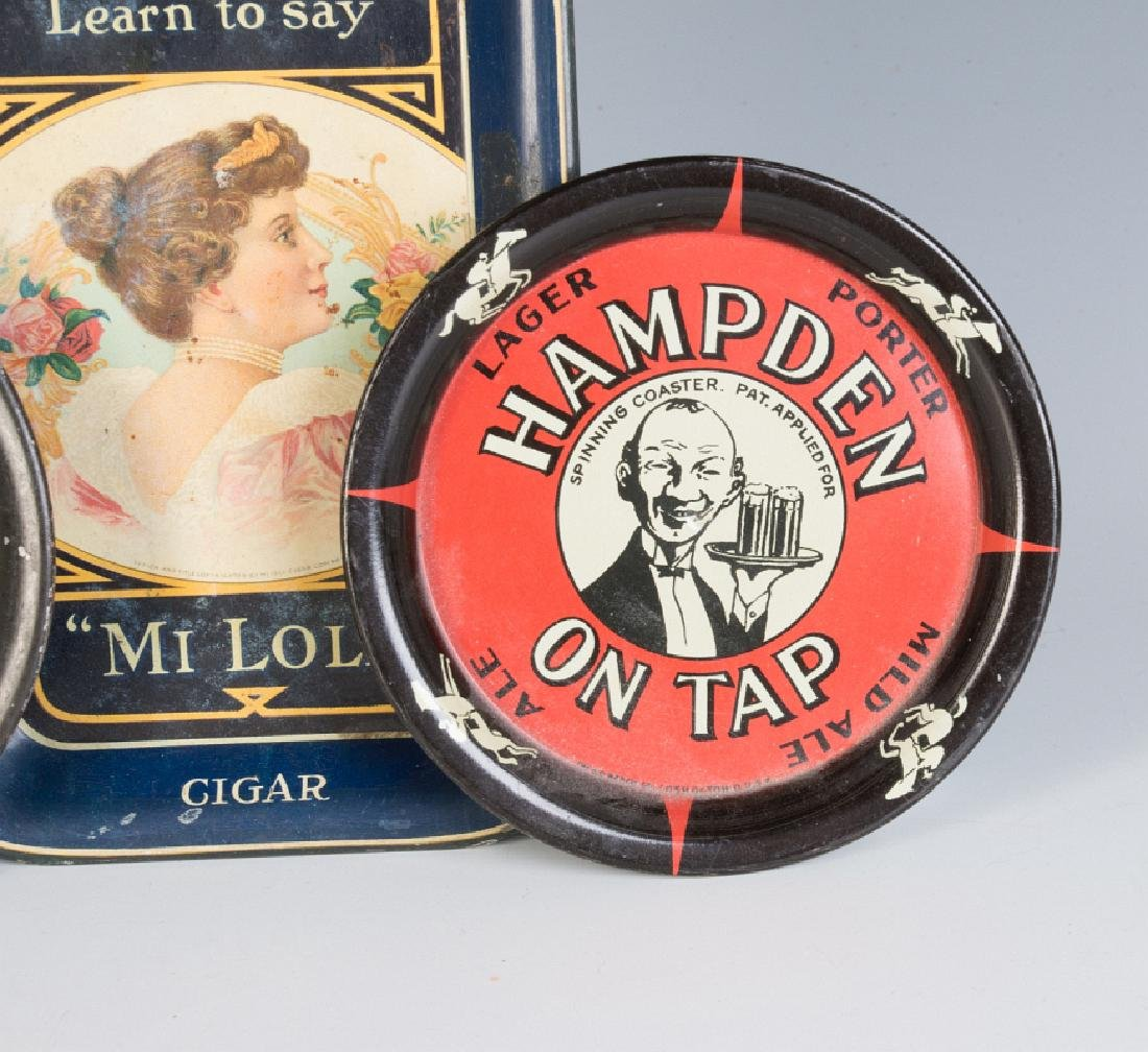 BEER AND CIGAR ADVERTISING TIP TRAY AND COASTERS - 3