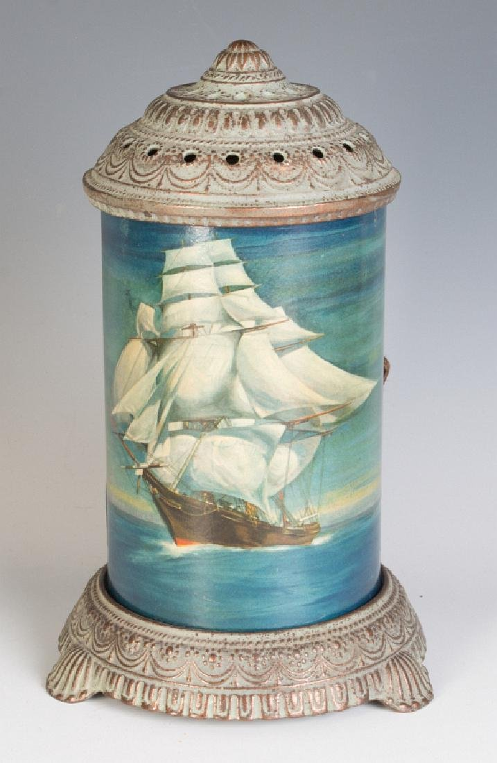 CIRCA 1930 MOTION LAMP WITH A NAUTICAL SCENE
