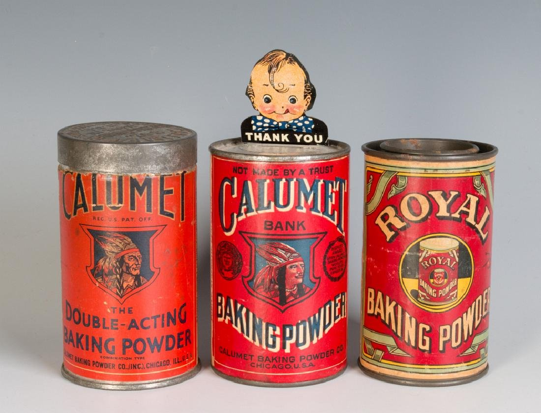 VINTAGE CALUMET BAKING POWDER TINS AND BANK