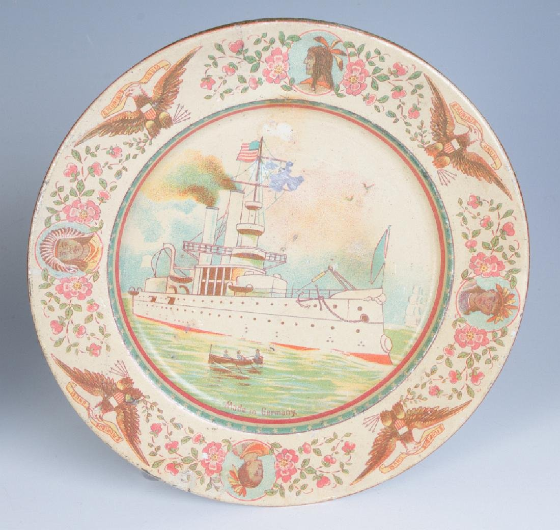 A GROUP OF TIN LITHO CHILDREN'S DISHES AND TOYS - 8