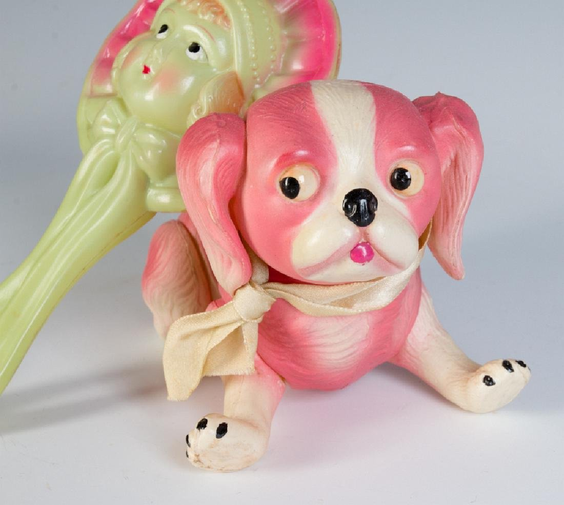 A VINTAGE CELLULOID RATTLE AND DOG FIGURE - 2