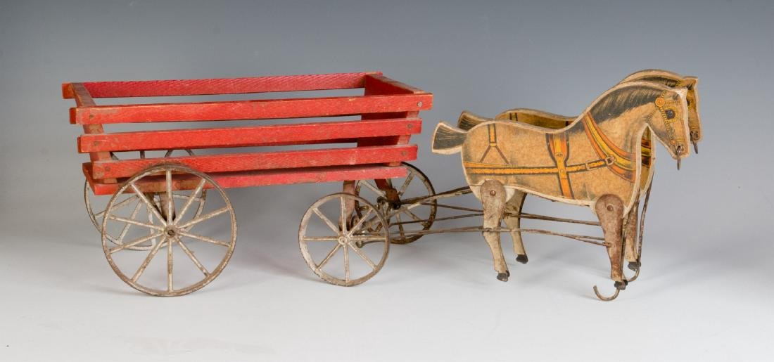 ANTIQUE VICTORIAN LITHO ON WOOD HORSE DRAWN TOY