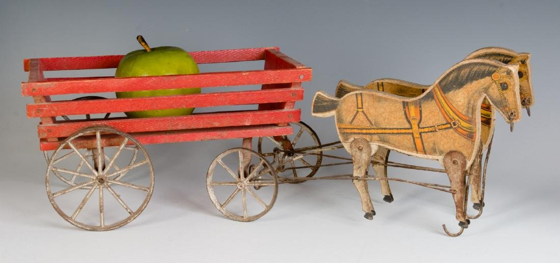ANTIQUE VICTORIAN LITHO ON WOOD HORSE DRAWN TOY - 4