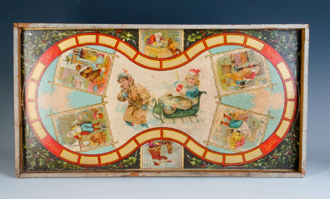 A VICTORIAN CHRISTMAS THEME BOARD GAME C. 1875