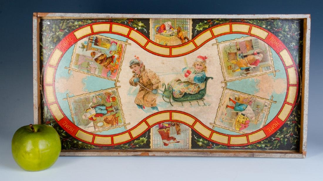 A VICTORIAN CHRISTMAS THEME BOARD GAME C. 1875 - 2