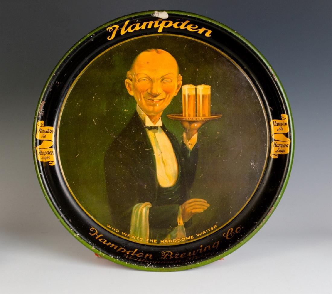 A HAMPDEN BREWING TIN LITHO BEER ADVERTISING TRAY