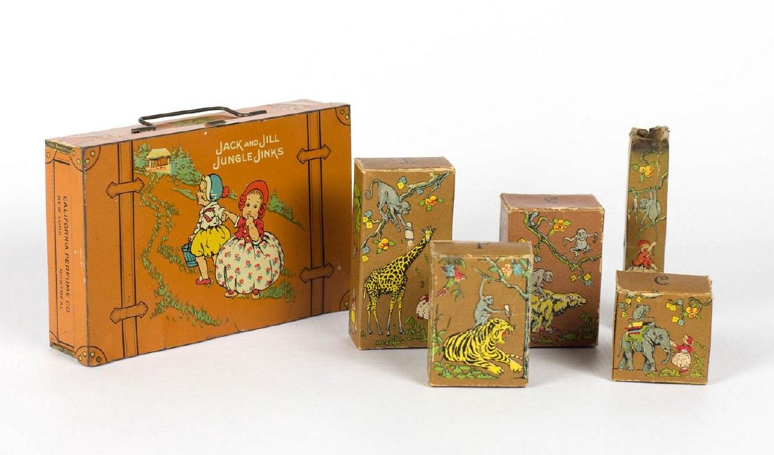 CALIFORNIA PERFUME 'JUNGLE JINKS' TIN AND CONTENTS