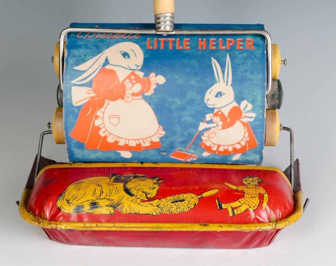 VINTAGE TIN LITHO CHILD'S SWEEPER AND DUST PAN
