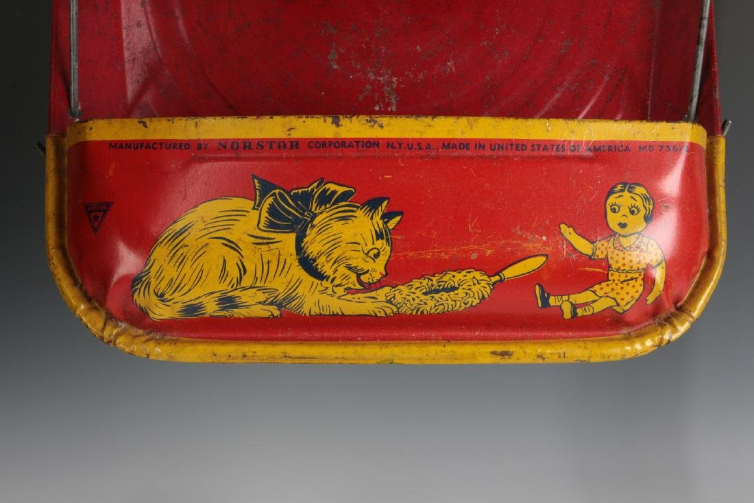 VINTAGE TIN LITHO CHILD'S SWEEPER AND DUST PAN - 8