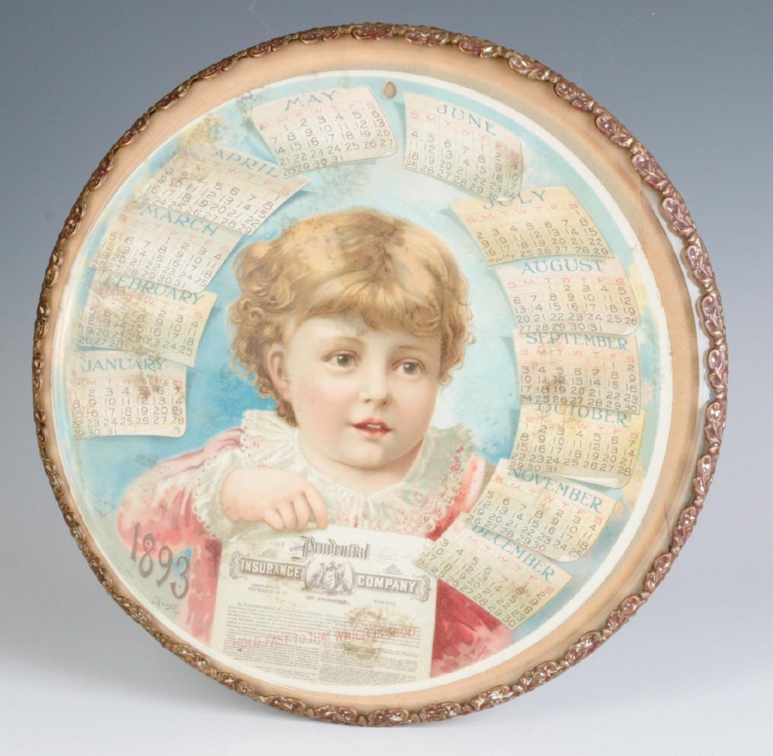 AN 1893 CHROMOLITHOGRAPH CALENDAR BEHIND GLASS