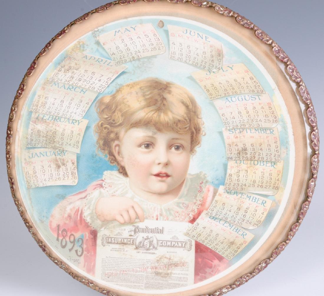 AN 1893 CHROMOLITHOGRAPH CALENDAR BEHIND GLASS - 2