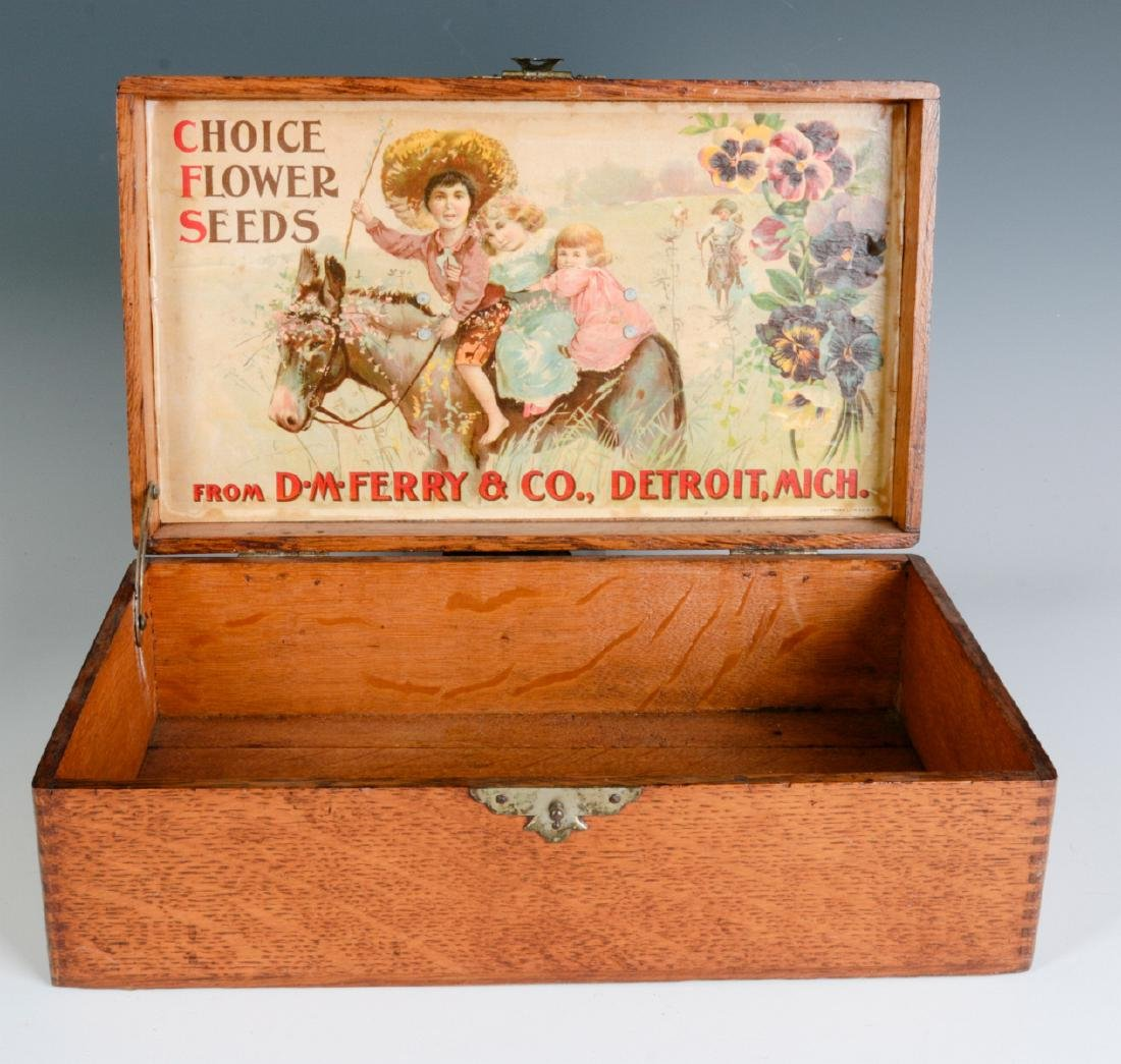 A GOOD OAK BOX WITH FERRY FLOWER SEED ADVERTISING