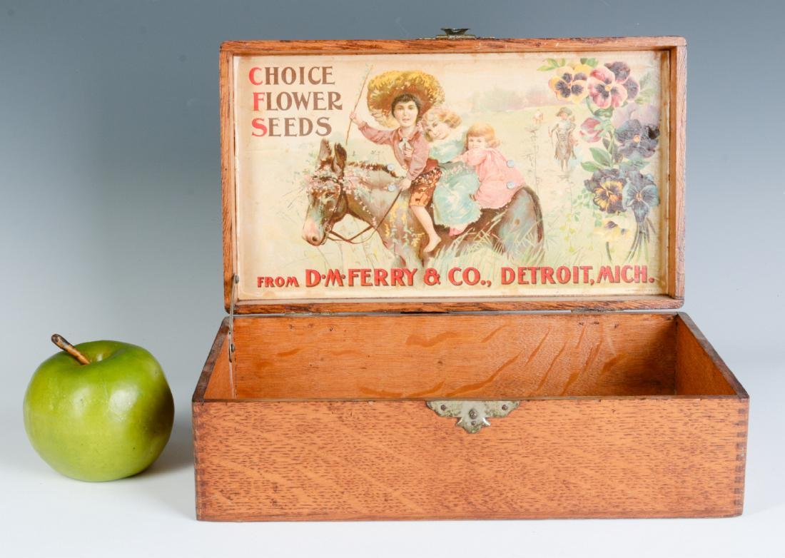A GOOD OAK BOX WITH FERRY FLOWER SEED ADVERTISING - 2