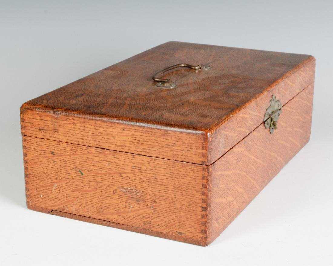 A GOOD OAK BOX WITH FERRY FLOWER SEED ADVERTISING - 4
