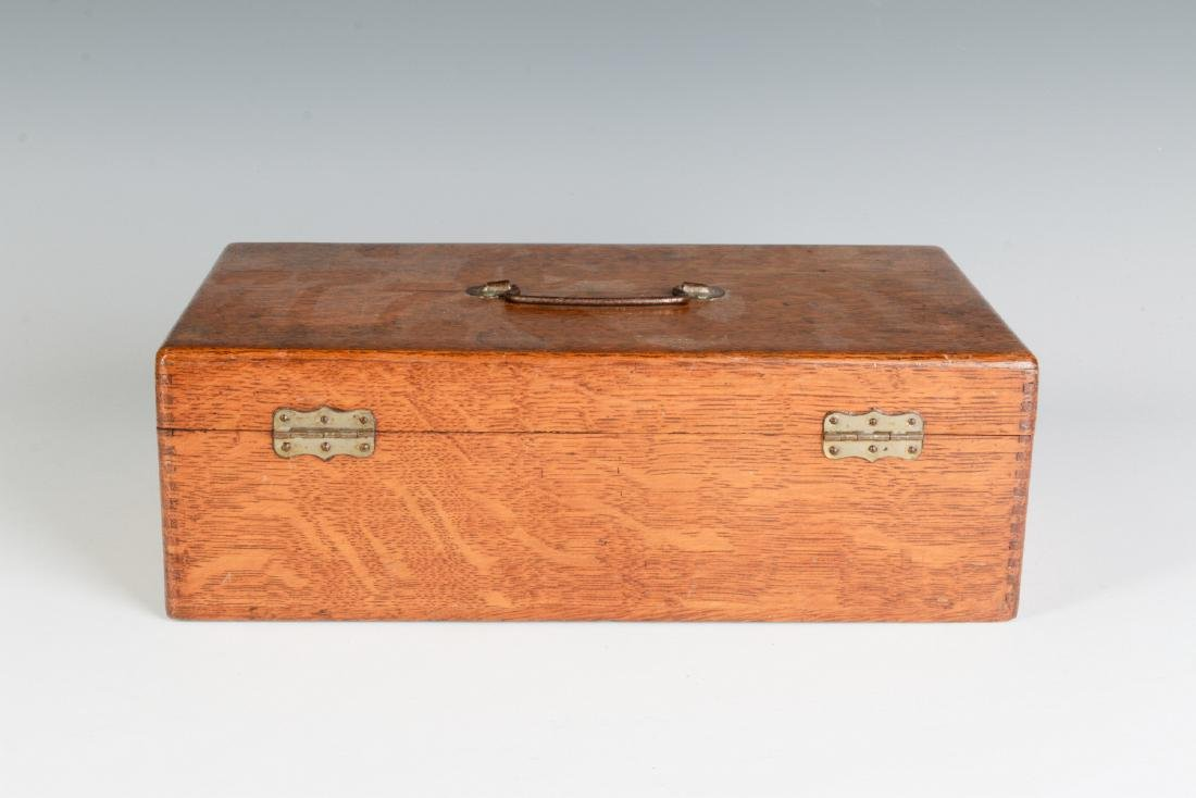 A GOOD OAK BOX WITH FERRY FLOWER SEED ADVERTISING - 6
