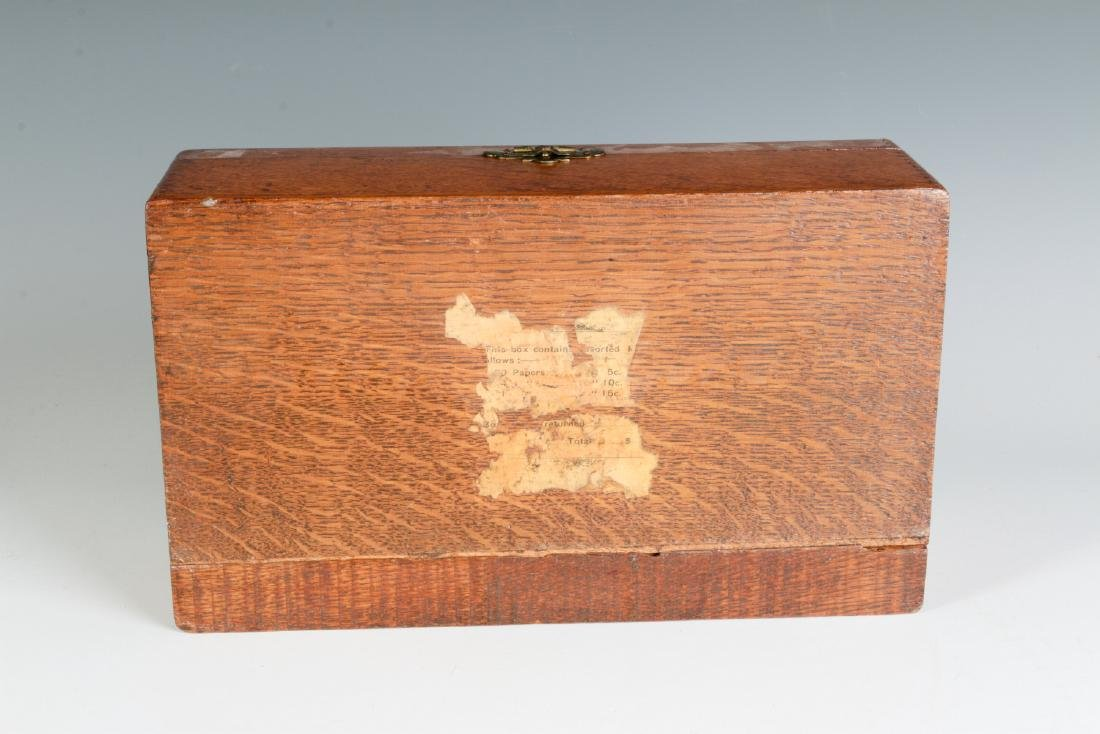 A GOOD OAK BOX WITH FERRY FLOWER SEED ADVERTISING - 9