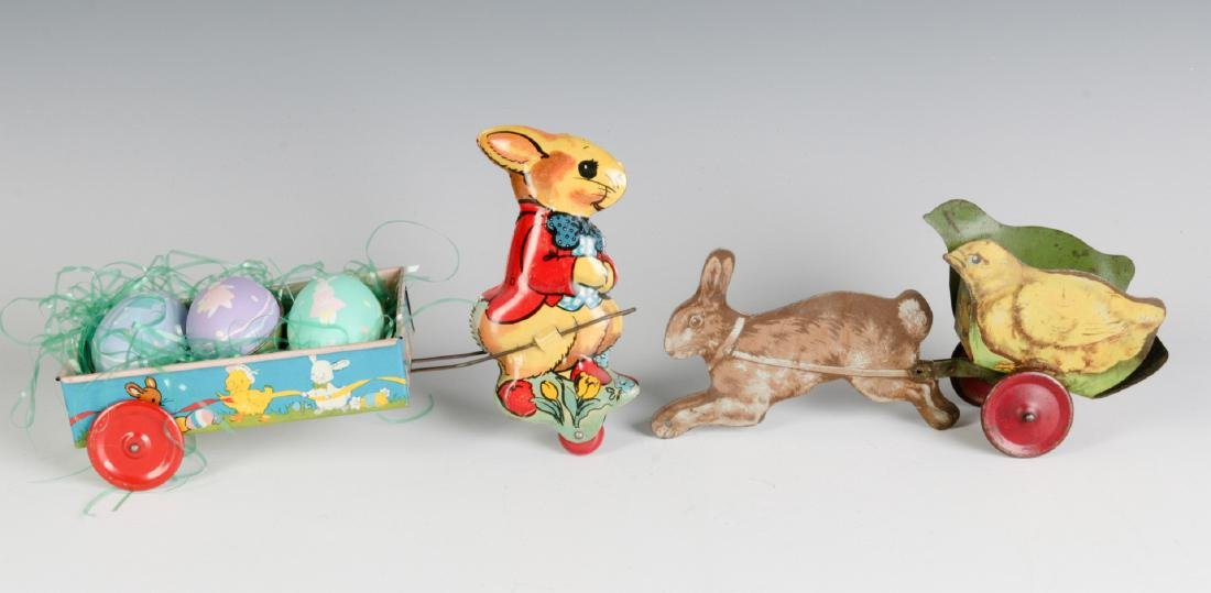 CIRCA 1910 AND 1950 TIN LITHO EASTER TOYS