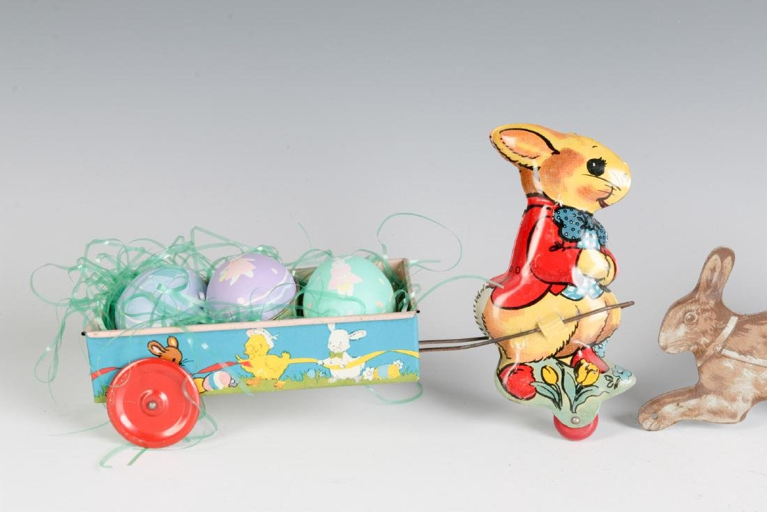 CIRCA 1910 AND 1950 TIN LITHO EASTER TOYS - 2