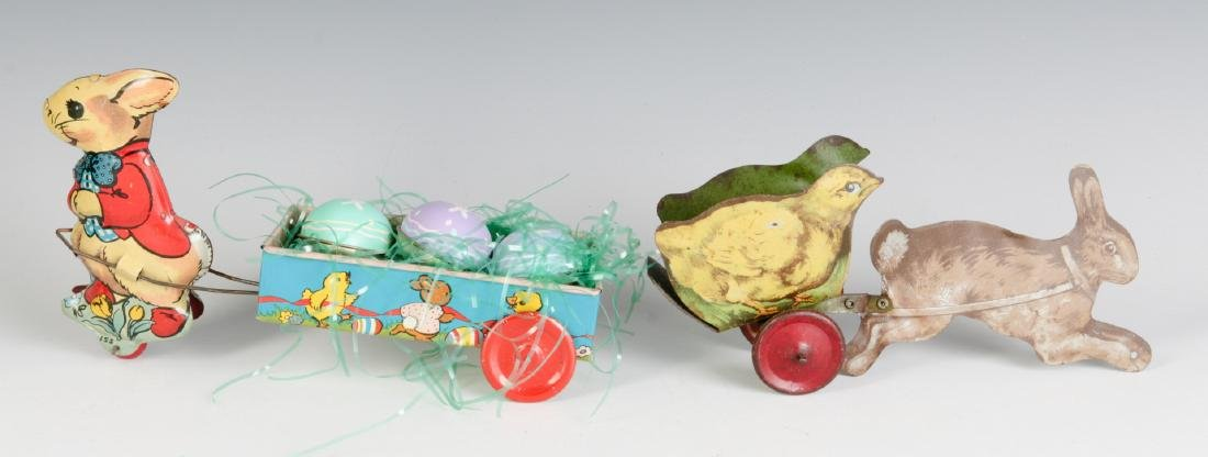 CIRCA 1910 AND 1950 TIN LITHO EASTER TOYS - 7