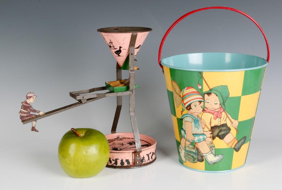A TIN LITHO SEE-SAW SAND TOY AND NICE CHILD'S PAIL - 4