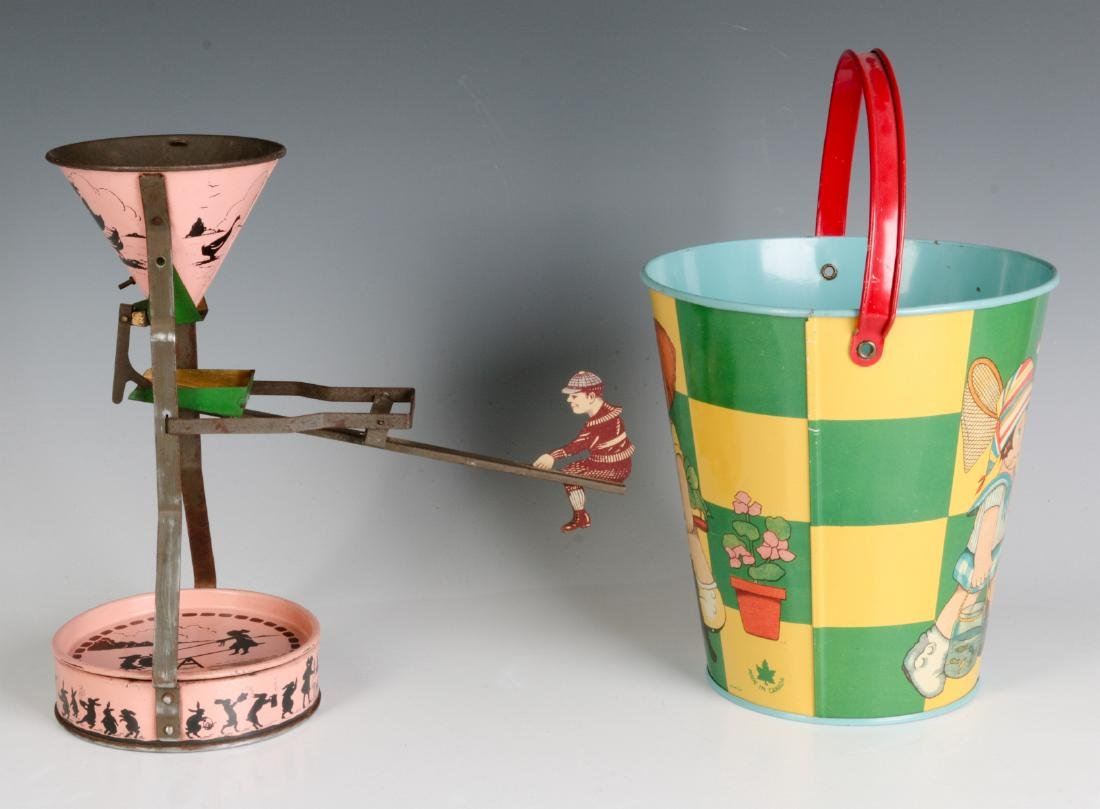 A TIN LITHO SEE-SAW SAND TOY AND NICE CHILD'S PAIL - 5