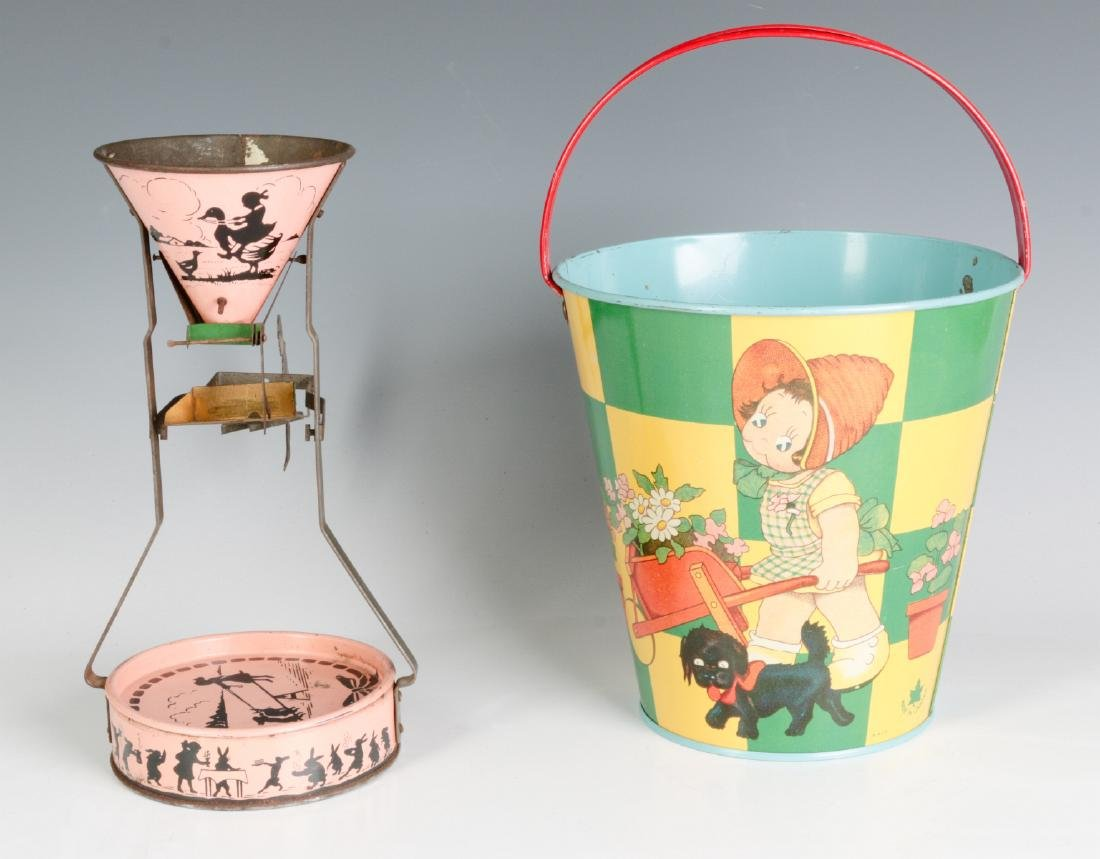 A TIN LITHO SEE-SAW SAND TOY AND NICE CHILD'S PAIL - 7
